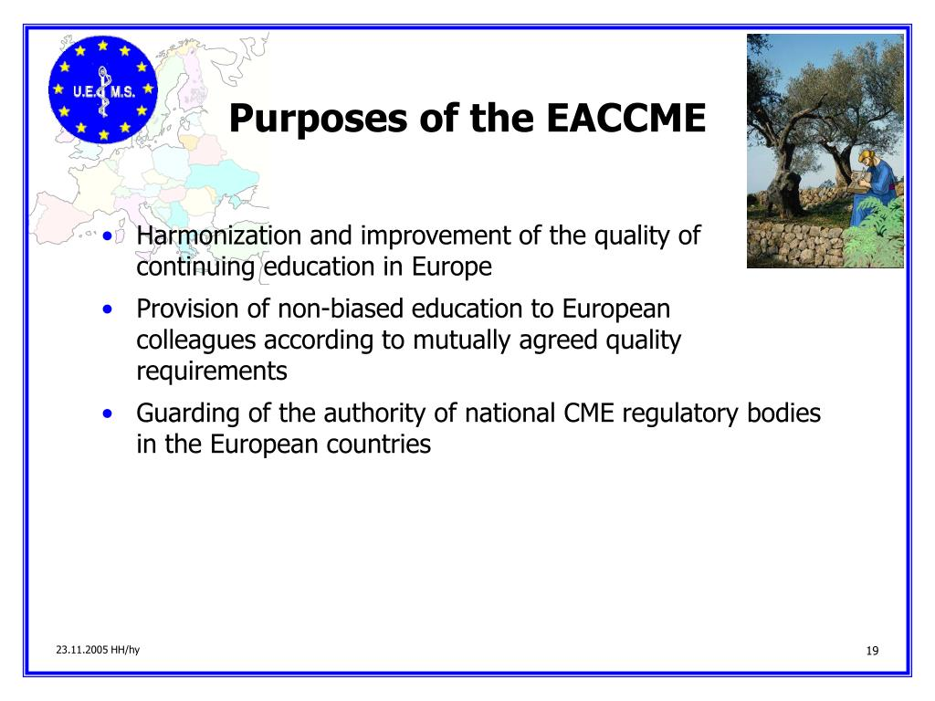 Purposes of the EACCME