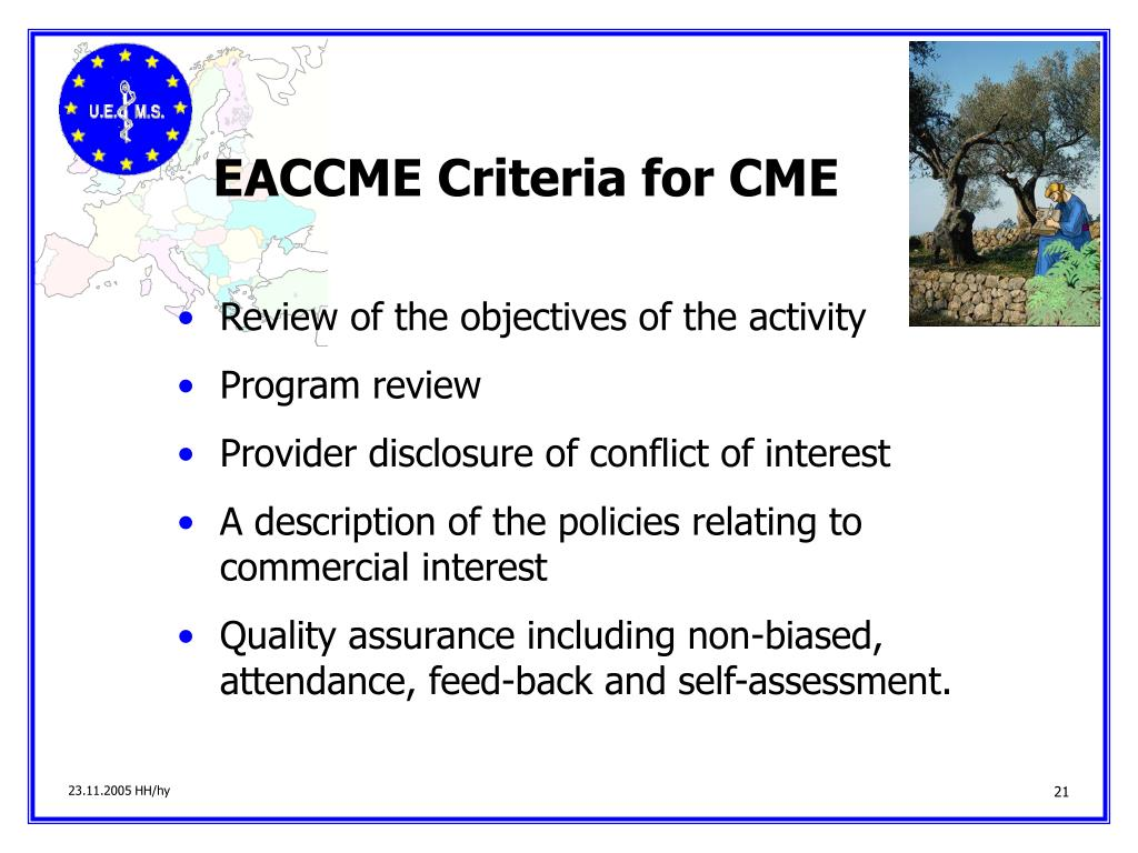 EACCME Criteria for CME