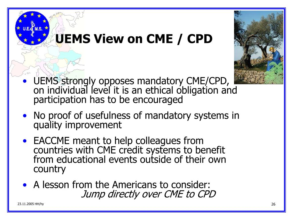 UEMS View on CME / CPD