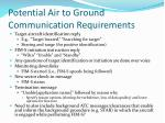 potential air to ground communication requirements