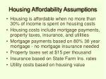 housing affordability assumptions