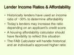 lender income ratios affordability