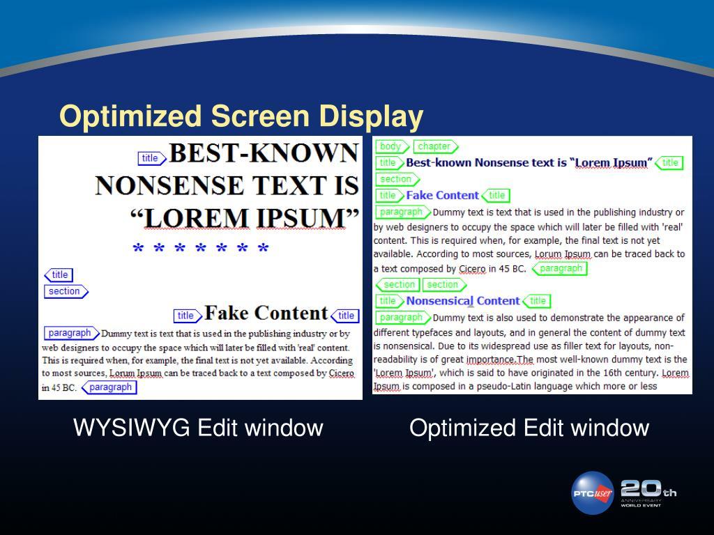 Optimized Screen Display