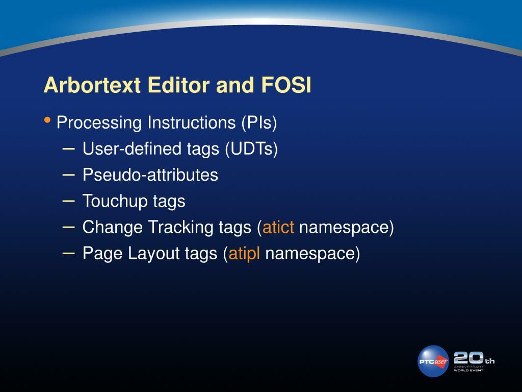 Arbortext Editor and FOSI