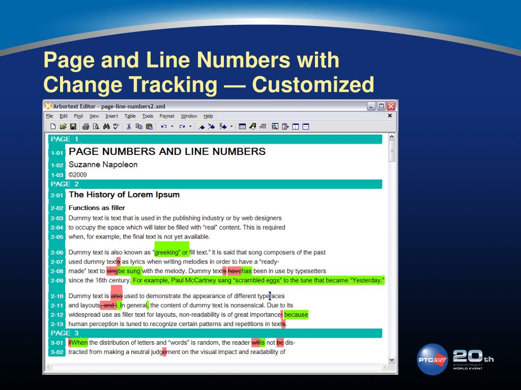 Page and Line Numbers with