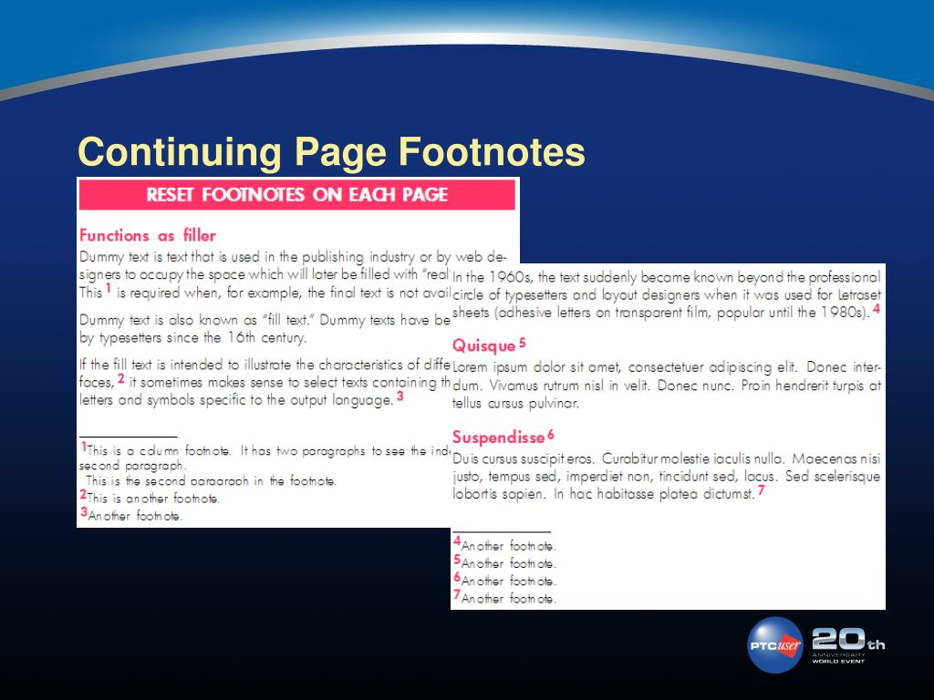 Continuing Page Footnotes