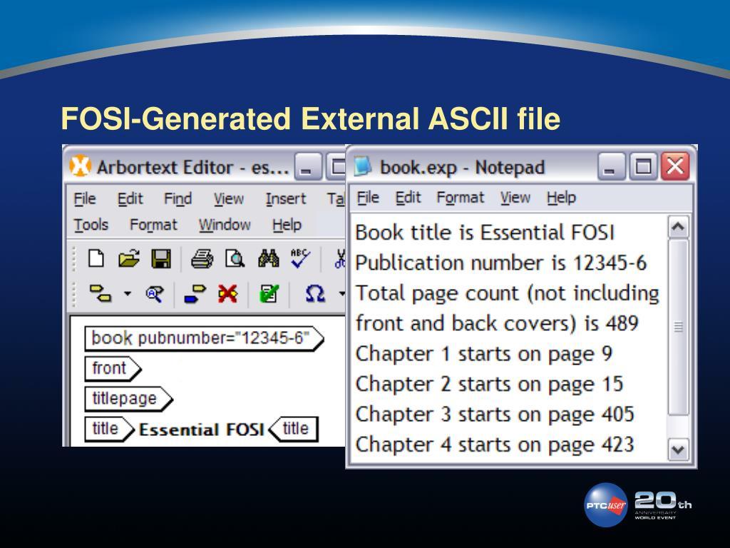 FOSI-Generated External ASCII file
