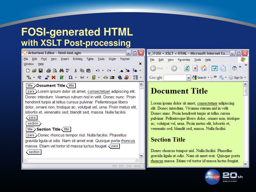 FOSI-generated HTML