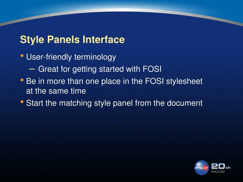 Style Panels Interface