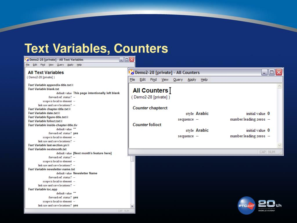 Text Variables, Counters