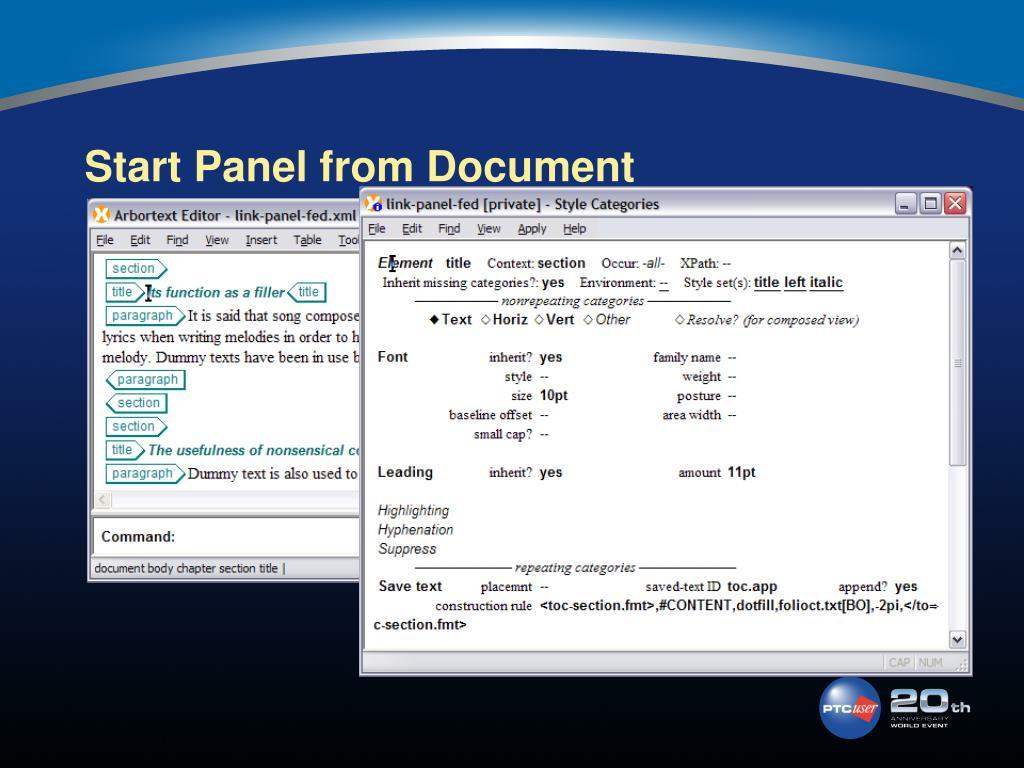 Start Panel from Document