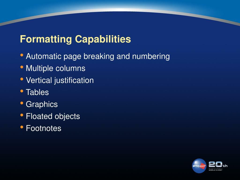 Formatting Capabilities