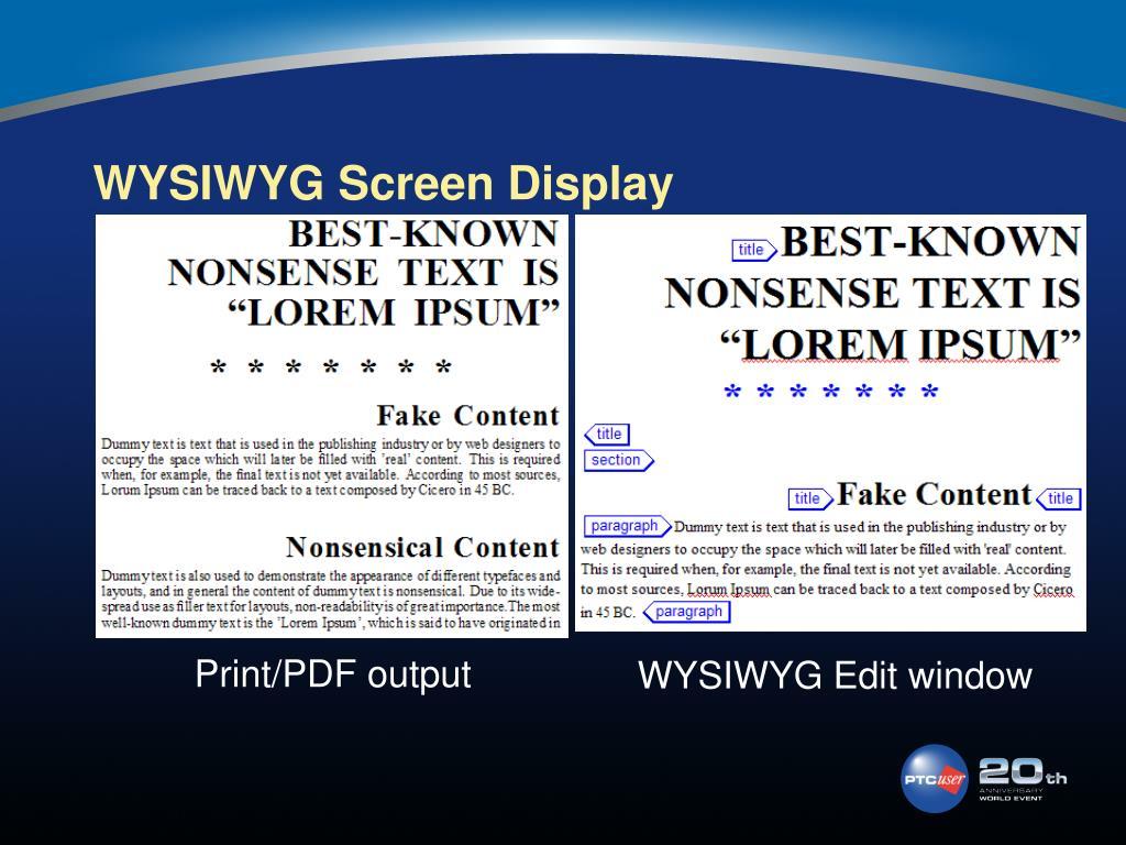 WYSIWYG Screen Display