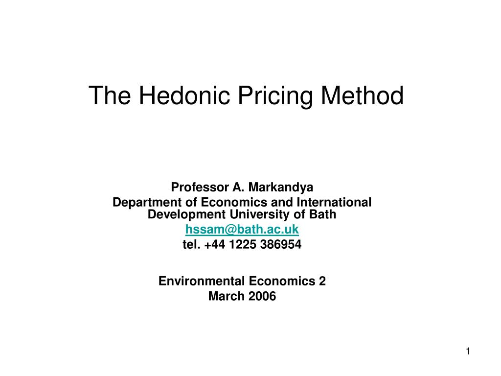 the hedonic pricing method l.