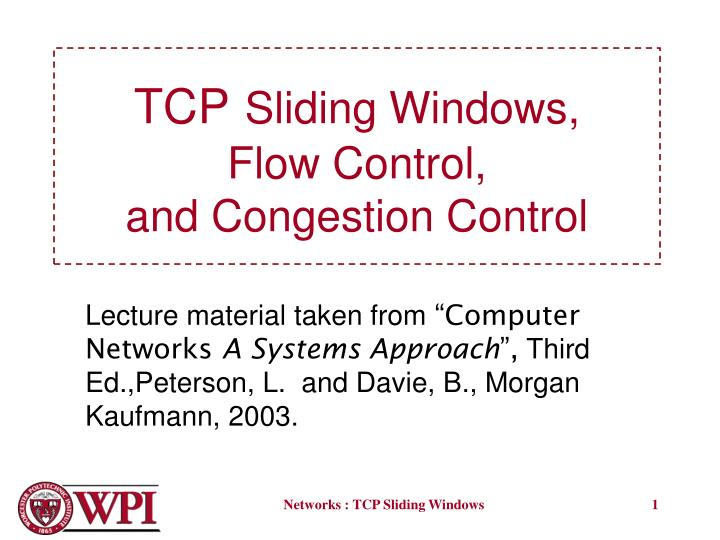 tcp sliding windows flow control and congestion control n.
