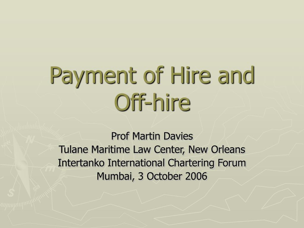 payment of hire and off hire l.