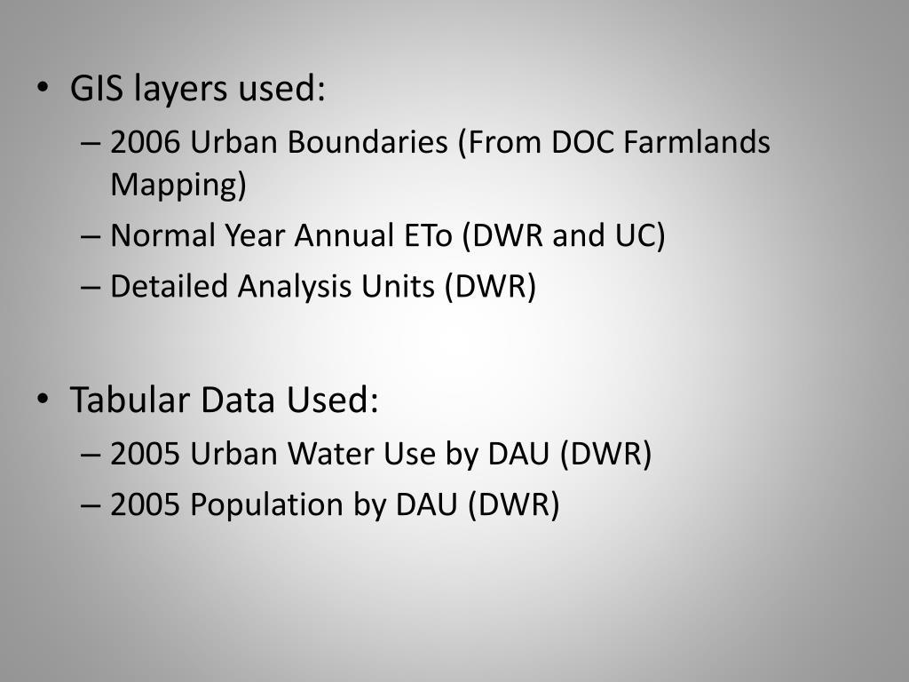 GIS layers used: