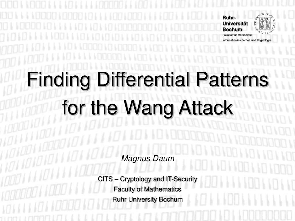 finding differential patterns for the wang attack l.