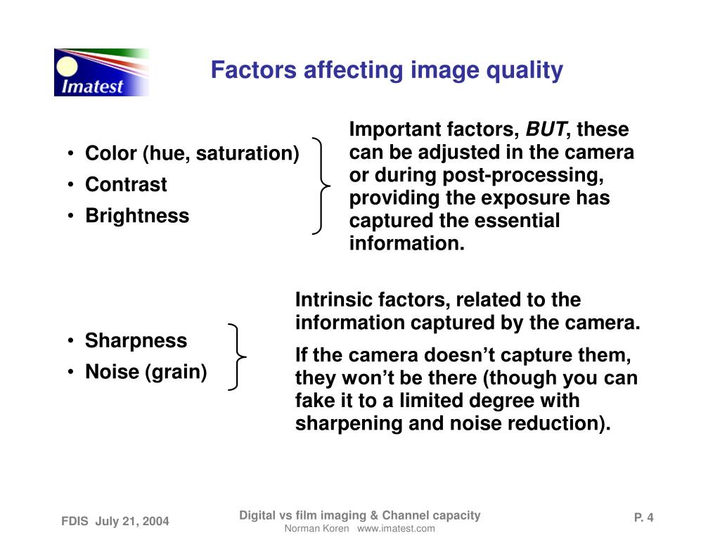 Factors affecting image quality