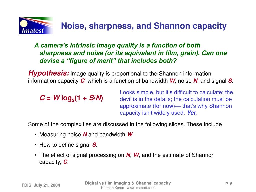 Noise, sharpness, and Shannon capacity