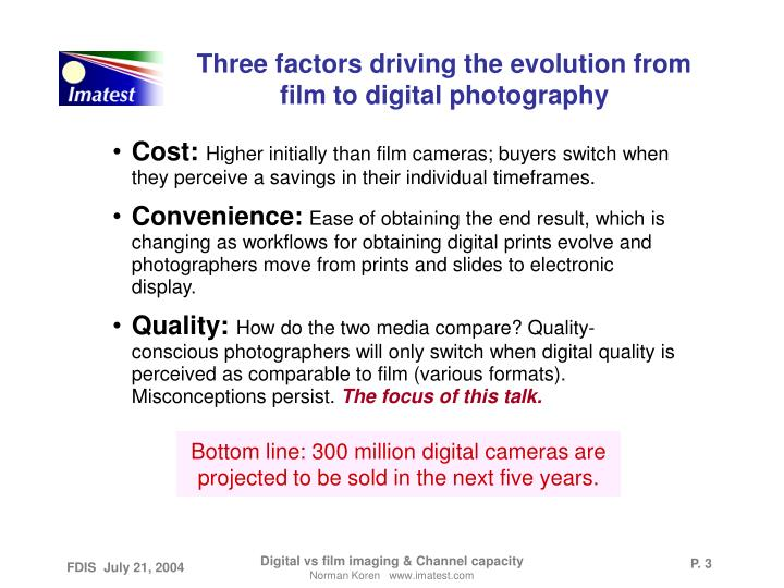Three factors driving the evolution from film to digital photography