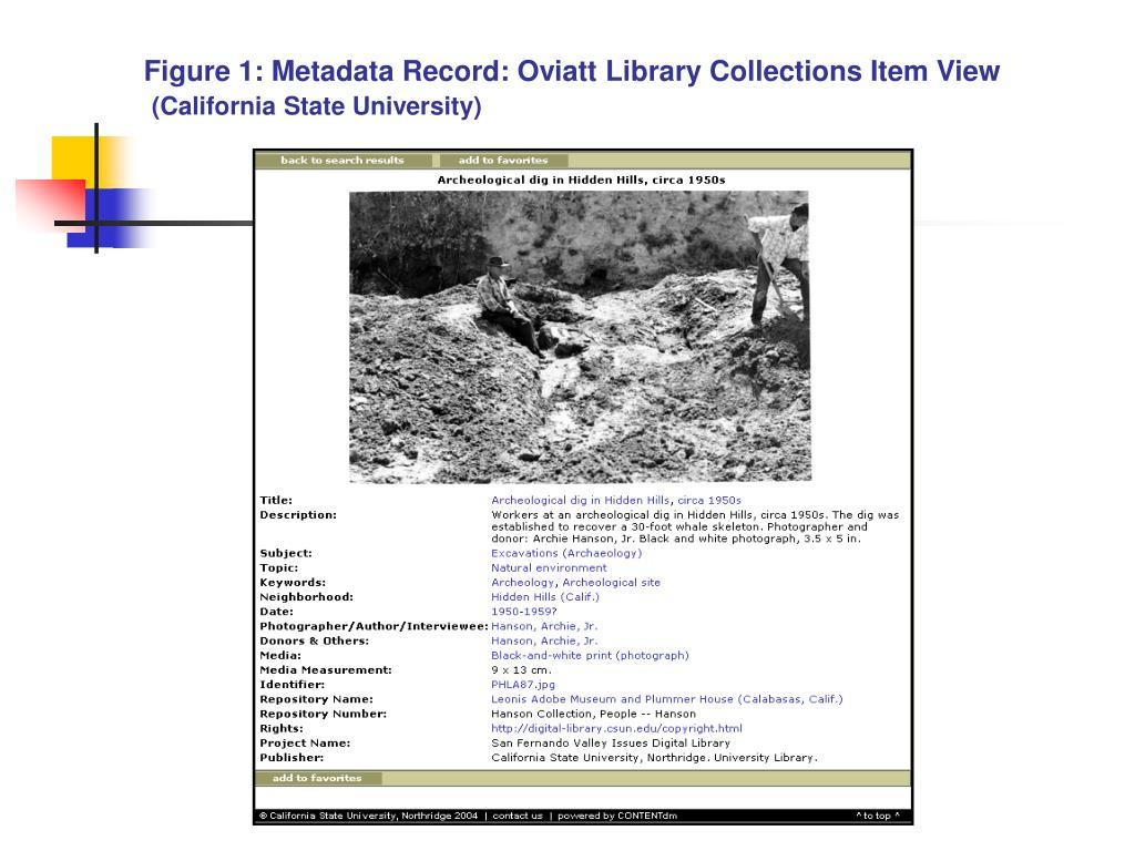 Figure 1: Metadata Record: Oviatt Library Collections Item View