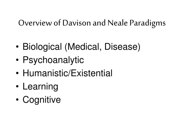 Overview of davison and neale paradigms