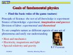 goals of fundamental physics