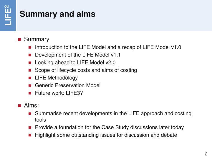 Summary and aims