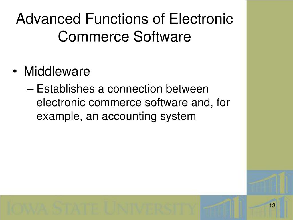 Advanced Functions of Electronic Commerce Software