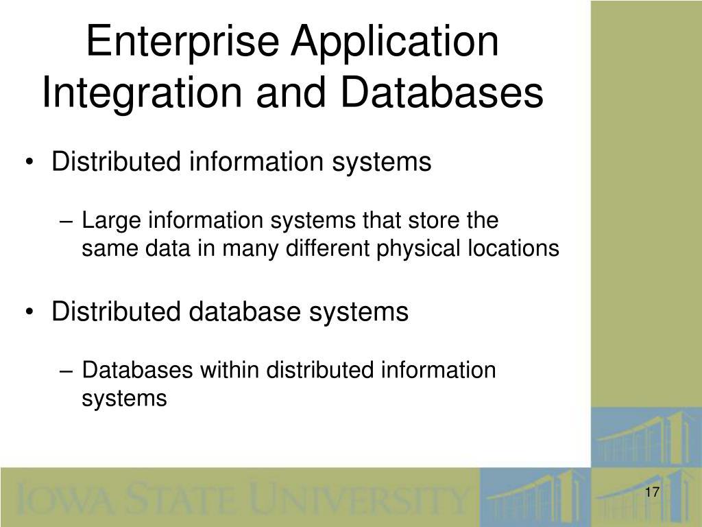 Enterprise Application Integration and Databases