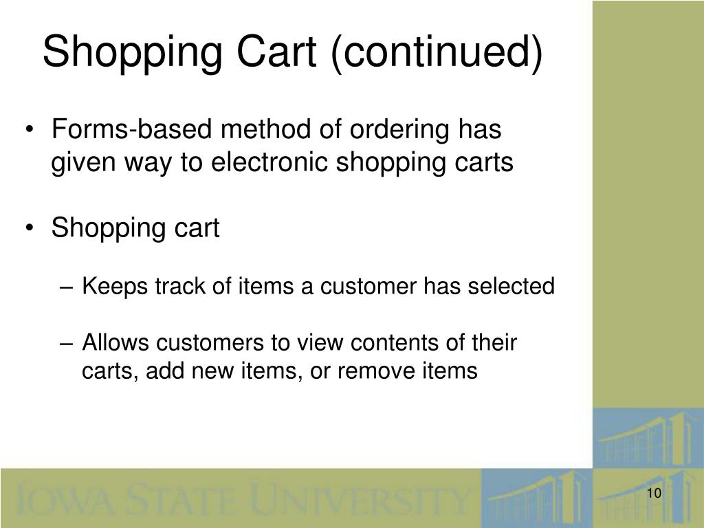 Shopping Cart (continued)