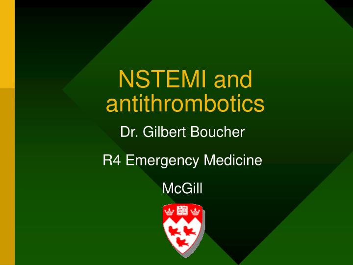 nstemi and antithrombotics n.