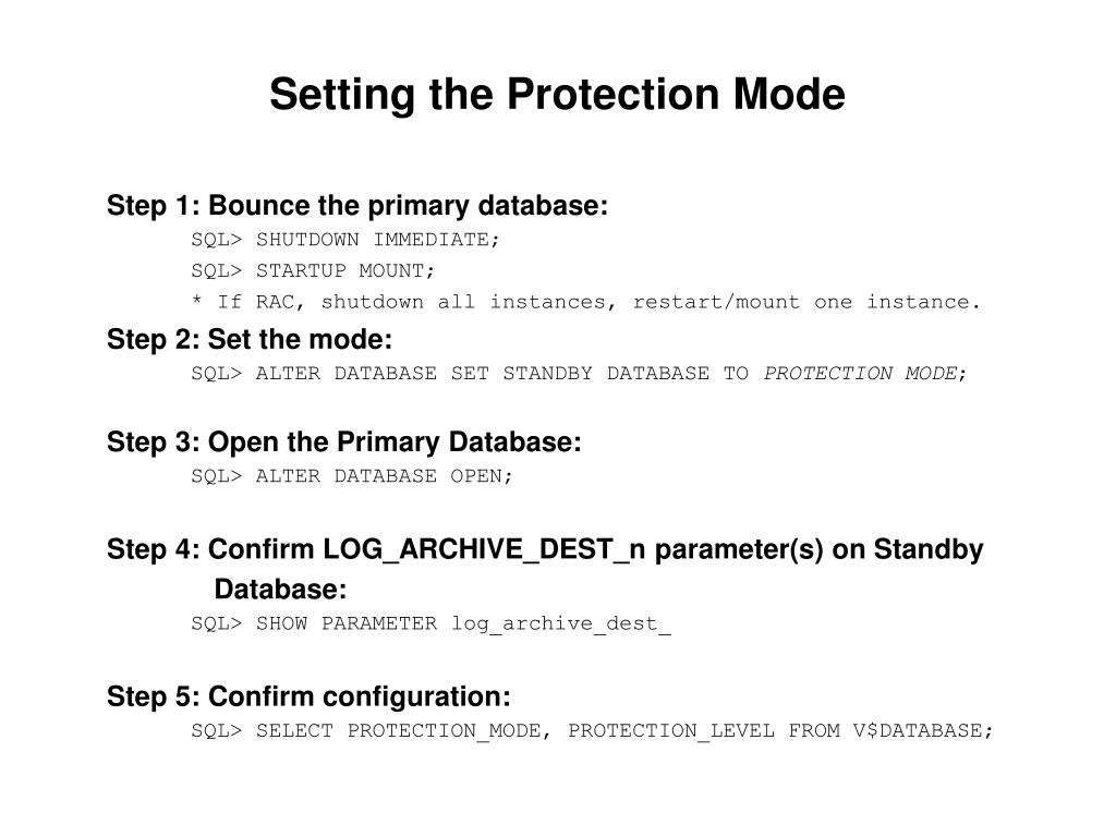 Setting the Protection Mode