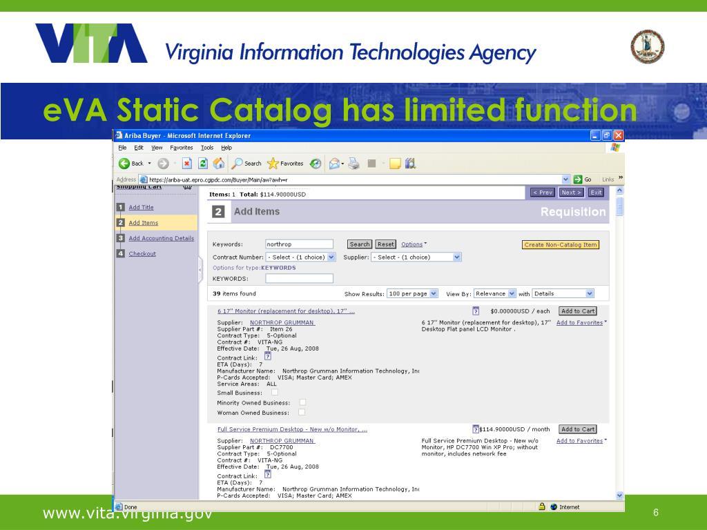 eVA Static Catalog has limited function