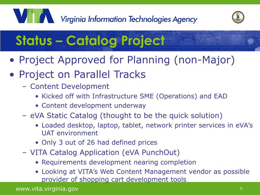 Status – Catalog Project