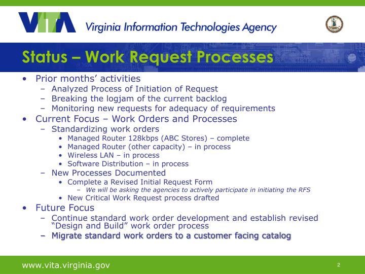 Status work request processes