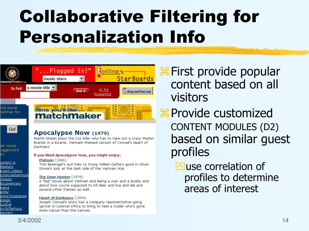 Collaborative Filtering for Personalization Info