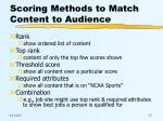 scoring methods to match content to audience