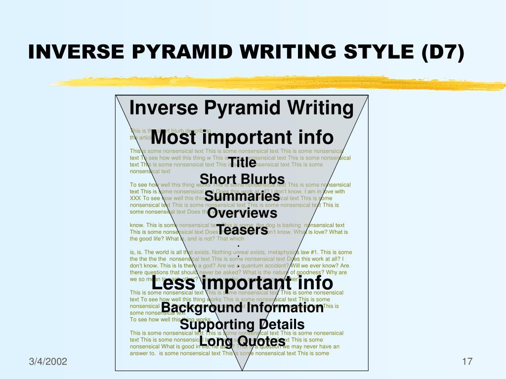 Inverse Pyramid Writing