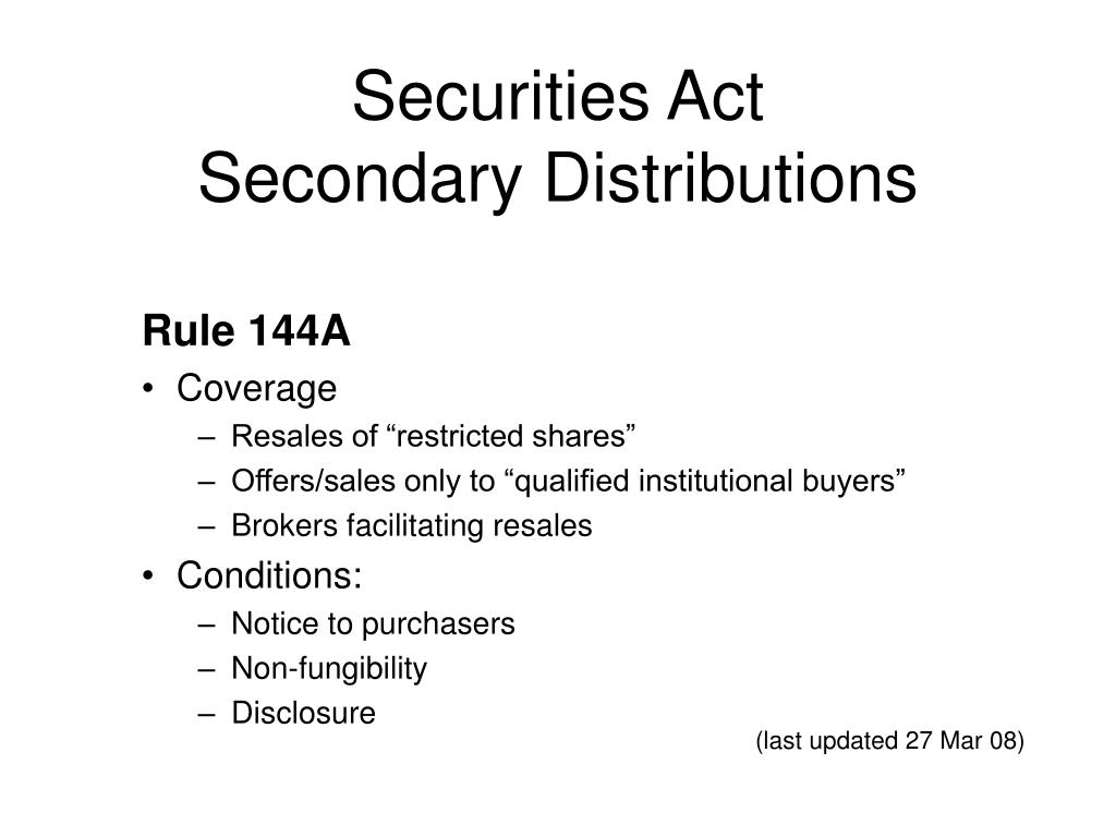 securities act secondary distributions l.