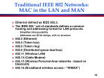 traditional ieee 802 networks mac in the lan and man
