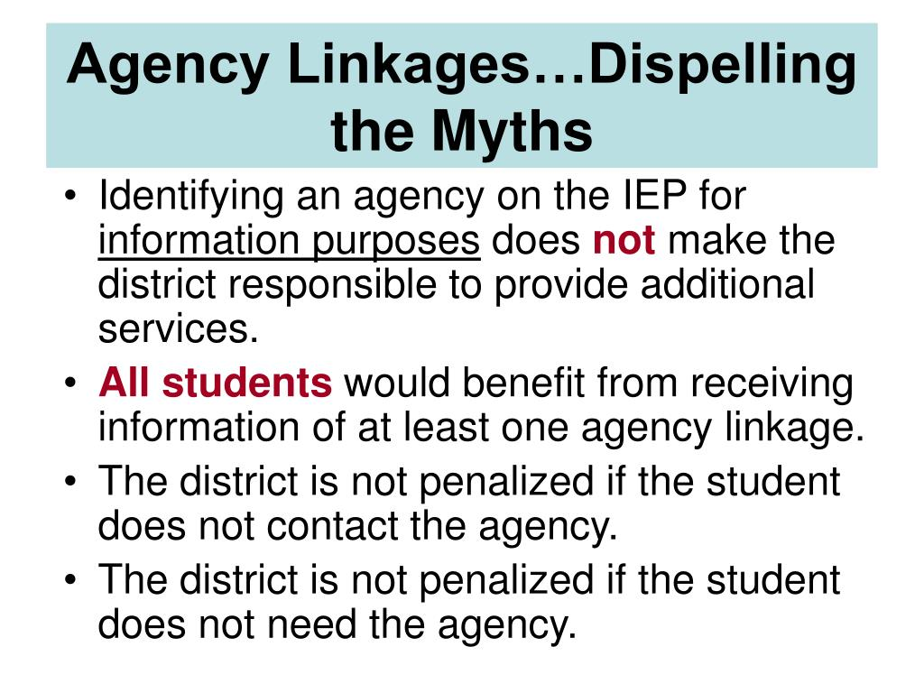 Agency Linkages…Dispelling the Myths