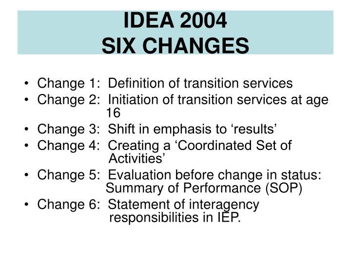 Idea 2004 six changes