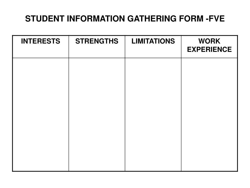 STUDENT INFORMATION GATHERING FORM -FVE
