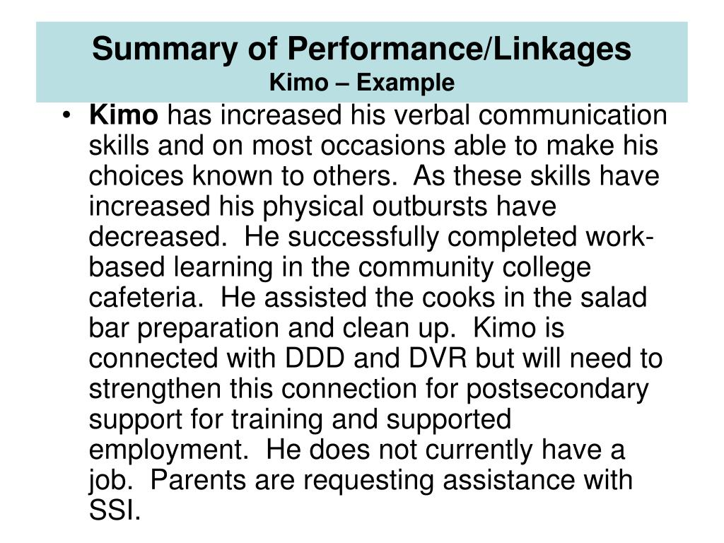 Summary of Performance/Linkages