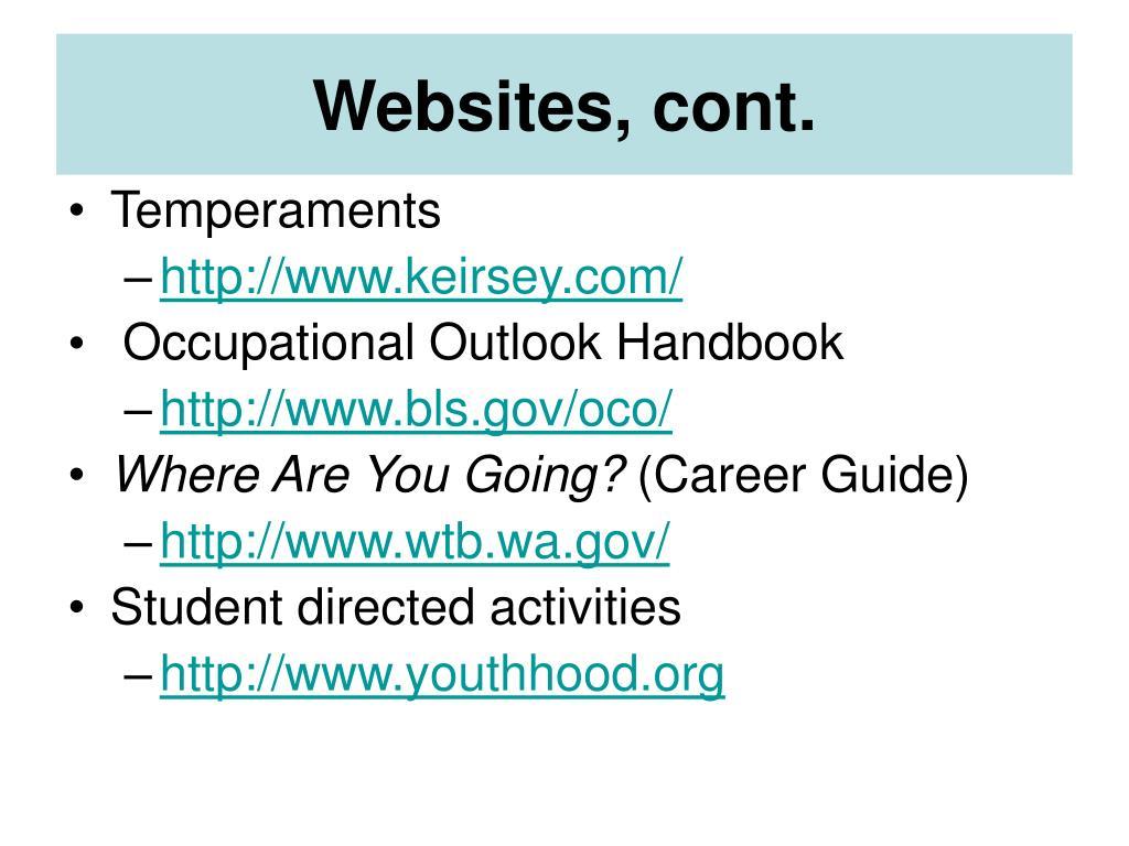 Websites, cont.