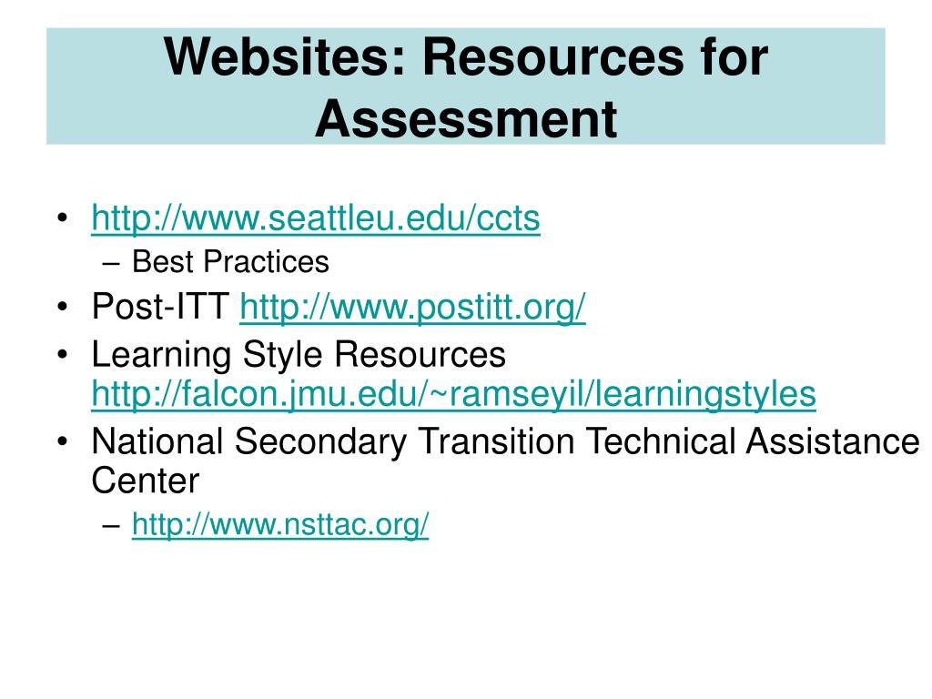 Websites: Resources for Assessment