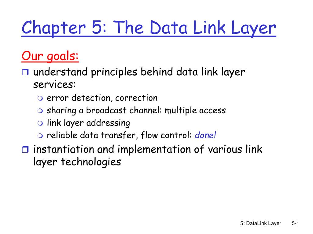 chapter 5 the data link layer l.