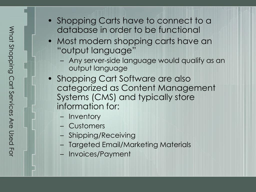 What Shopping Cart Services Are Used For